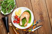 stock photo of condiment  - Grilled salmon - JPG