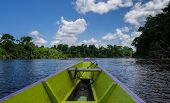 picture of suriname  - Canoe in the Suriname river with the sun shining on the trees - JPG