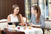 stock photo of lunch  - Business talk by lunch - JPG