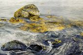 foto of sea-scape  - A beautiful sea scape with rocks waves and kelp - JPG