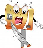 stock photo of terrifying  - Mascot Illustration of a Terrified Credit Card About to be Cut - JPG