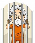picture of jail  - Illustration of a Senior Citizen Still Serving His Sentence in Jail - JPG