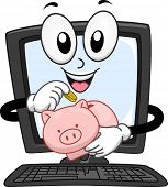 image of coin bank  - Mascot Illustration of a Computer Monitor Dropping Coins in a Piggy Bank - JPG