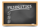 image of priorities  - detailed illustration of a blackboard with an empty priorities list - JPG