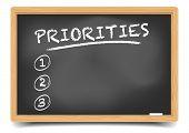 foto of priorities  - detailed illustration of a blackboard with an empty priorities list - JPG