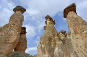 image of goreme  - Rock formations like to Fairy Chimneys in Cappadocia  - JPG
