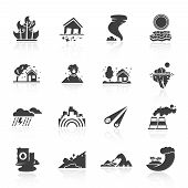 stock photo of storms  - Natural disaster icons black set with tsunami snow storm thunder isolated vector illustration - JPG