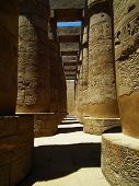 pic of sun god  - Columns with hieroglyphics and paintings in the ancient temple of the sun god  - JPG