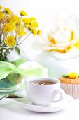 foto of continental food  - continental breakfast with cake and fruit tea - JPG