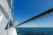 White Yacht against the Mackinac Bridge