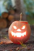 stock photo of jack o lanterns  - Angry halloween jack - JPG