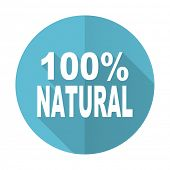 image of 100 percent  - natural blue flat icon 100 percent natural sign  - JPG