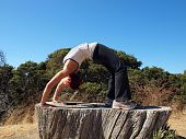 Attractive 20-something Lady Does A Backbend On Old Tree Stump