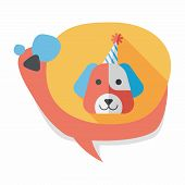 stock photo of dog birthday  - Dog Birthday Flat Icon With Long Shadow - JPG