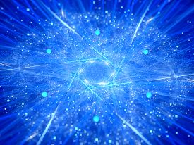 stock photo of higgs boson  - Nuclear fission glowing neon style computer generated abstract background - JPG