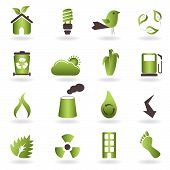 stock photo of carbon-footprint  - Eco related symbols and icons on white background - JPG