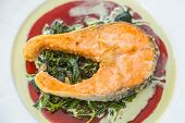 picture of salmon steak  - Grilled Salmon Steak with Spinach - JPG