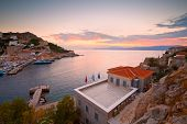 stock photo of hydra  - View of port of Hydra from a hill above the town - JPG