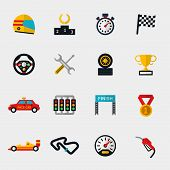 Race car track and racing flag modern flat icons poster