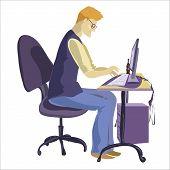 foto of programmers  - Programmer sitting in front of his computer and working - JPG