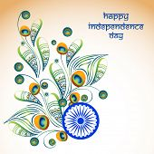 image of indian independence day  - Elegant greeting card design decorated with beautiful floral pattern in peacock feather shape on shiny background for Indian Independence Day celebration - JPG
