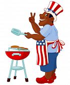 picture of uncle  - Funny man with Uncle Sam hat cooking hamburgers on grill - JPG