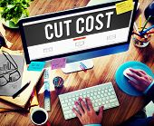 stock photo of reduce  - Cut Cost Reduce Recession Deficit Economy FInance Concept - JPG