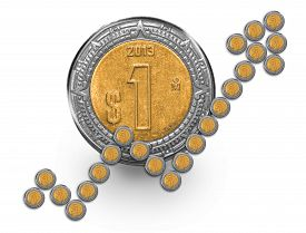 picture of pesos  - Mexican Peso coins forming a growth arrow in front of a one peso coin - JPG