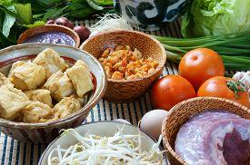 picture of shrimp  - Vietnamese food bun rieu a famous dish of Vietnam raw material as tomato crab pork meat shrimp salad scallion egg vegetable shrimp paste bunrieu is Viet Nam special eating - JPG