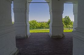 pic of ascension  - View from inside the ground level of the galery of the Church of the Ascension in Kolomenskoye Moscow Russia - JPG