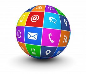 image of blog icon  - Website and Internet contact us web icons and symbol on a colorful globe for blog and online business illustration on white background - JPG