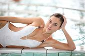 Beautiful woman in thalassotherapy spa center