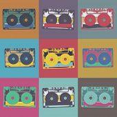 Audiocassette retro popart music seamless background. Audiocassette illustration pop-art seamless pa poster