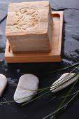 Closeup of argan handmade soap bar