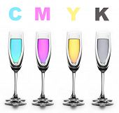 Four glasses with a different liquid on color.CMYK...