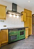 retro kitchen with green gas oven