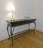 vintage hard wood table with drawer and hand crafted metal frame