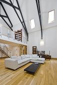historic conversion apartment with mezzanine and hard wood beam construction