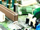 closeup of a computer board