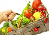 Fresh vegetables in wooden basket
