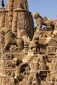 rooftop of jain temples of jaisalmer in rajasthan state in india