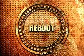 reboot, 3D rendering, text on metal poster