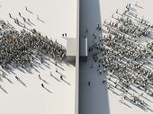 crowd of people passing through the gates, 3d illustration poster