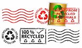 Recycling letter franking mark and stamp