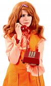 Woman In An Orange Dress On A Red Phone With Sixties 60'S Orange Everywhere