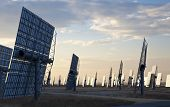A field of solar mirror panels harnessing the sun's rays to provide alternative green energy