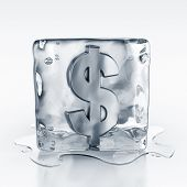 3d rendering of an icecube with a dollar symbol inside
