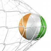 3d rendering of a Ivoran Coast soccer ball in a net