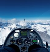 pic of glider  - Photo inside the cockpit of a glider flying over the alps - JPG