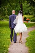 pic of wedding couple  - wedding couple walking - JPG
